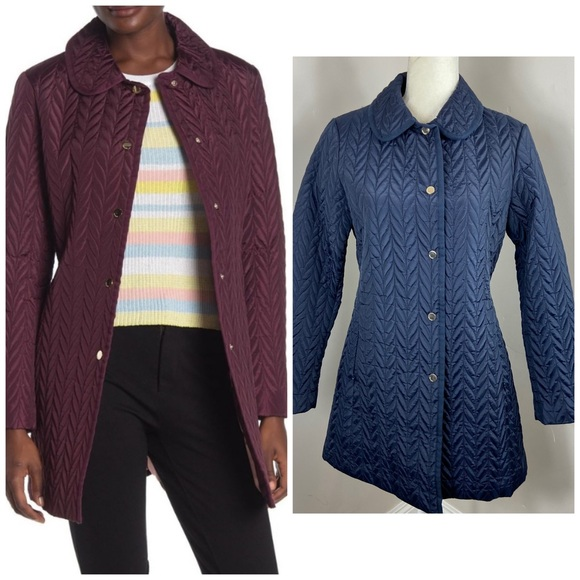 Kate Spade Navy Blue Quilted Snap Front Jacket S